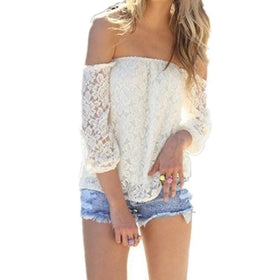 la-fashion-district-llc White / S Off Shoulder White Slash Neck Long Sleeve Hollow Out Crochet Shirts