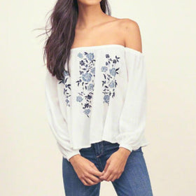 LA Fashion District LLC White / S Vintage Floral Print Tops Long Sleeve Slash Neck Off Shoulder Chiffon Shirts