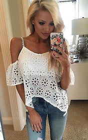 LA Fashion District LLC White / S Women Casual Boho Lace Off Shoulder Shirt Summer Crop Tank Tops Blouse
