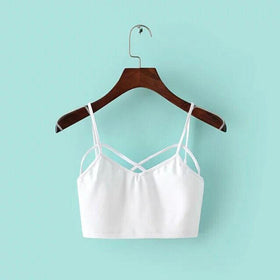 LA Fashion District LLC white Strappy Padded Bra Bustier Bra Bralette Corset Crop Tops Tank Top Blouse Black White Cheap