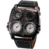 LA Fashion District LLC WHITE Watches Cool Sports Casual Quartz Wristwatch Leather Strap Oversize Military Compass Dial
