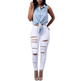 LA Fashion District LLC White / XXL Jeans Slimmer Elasticity Pencil Pants Holes Skinny Jeans Woman Plus Size Black White Ripped