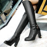 LA Fashion District LLC Winter  knee high boots platform high heels black round toe  boots wedding shoes