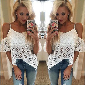 LA Fashion District LLC Women Casual Boho Lace Off Shoulder Shirt Summer Crop Tank Tops Blouse