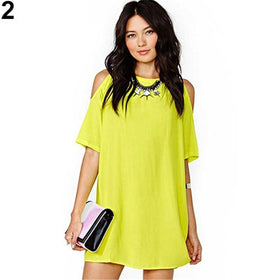la-fashion-district-llc Women's Fashion Off Shoulder Chiffon Short Sleeve T-Shirt Tops Mini Dress