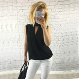 LA Fashion District LLC Womens Slim Casual Chiffon Blouse Sleeveless Shirt