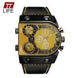 LA Fashion District LLC Yellow Mens Watches Top Brand Luxury Leather Strap Mens Watch Sports Multi Time Zone Quartz Male