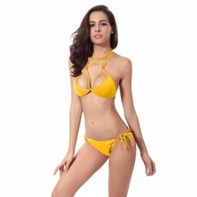 LA Fashion District LLC Yellow / S Halter Bikini Brazilian Swimwear Swimsuit Beach Wear Bathing Suit Triangle Bikini Set