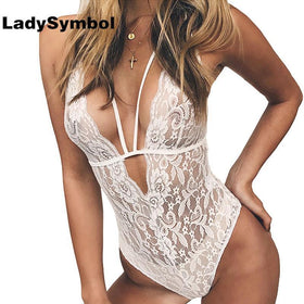 LadySymbol Store Bodysuits Black / M Deep V Neck Black Sexy Lace Bodysuit Women Jumpsuit Romper Slim Sleeveless Straps Bodycon