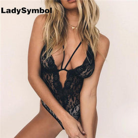 LadySymbol Store Bodysuits Black / S Deep V Neck Black Sexy Lace Bodysuit Women Jumpsuit Romper Slim Sleeveless Straps Bodycon