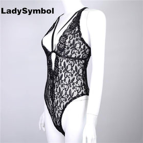 LadySymbol Store Bodysuits Deep V Neck Black Sexy Lace Bodysuit Women Jumpsuit Romper Slim Sleeveless Straps Bodycon