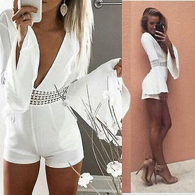 Liang Girl Store Rompers V-neck Hollow Out Long Flare Sleeve High Waist Chiffon Jumpsuit Romper Short Bodycon