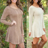 Loose O-neck T-Shirt knit Sweater Dress top lady long sleeve knitted dress