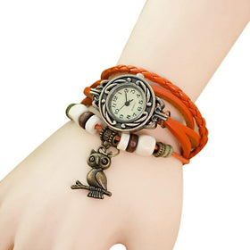 XINIU Women's Bracelet Watches pu Leather Woven Owl Pendant Vintage style Wristwatch clock women relogios femininos Gift #A8