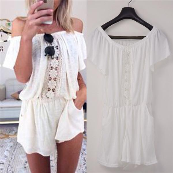 The  Spring   Lace Stitching Pocket Piece Shorts Jumpsuits Rompers off the Shoulder