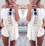 The New Spring Women Sexy Lace Stitching Pocket Piece Shorts Jumpsuits Rompers off the Shoulder - LA Fashion District LLC
