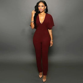 Rabbit Immortal Store Jumpsuits Sexy Lady Deep V-Neck Batwing Sleeve Bodycon Jumpsuit Romper Pants Clubwear