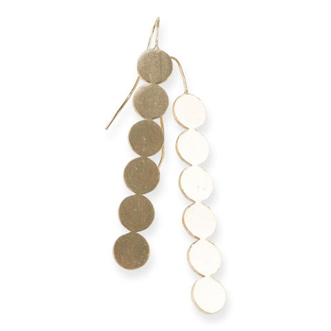 Line of Circles Brass Earrings by Ink + Alloy