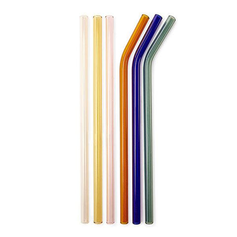 Set of 6 Glass Straws with Cleaner