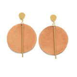 Leather Circle With Brass Post Earrings by Ink + Alloy