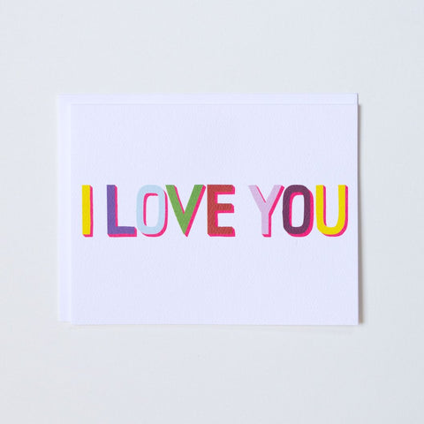 Multi-coloured with Neon I Love You Card