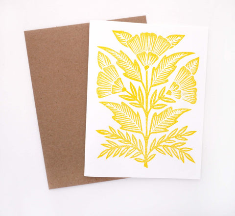 Block Printed Yellow Flowers
