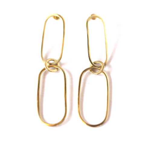 Reta Brass Loop Earrings by Meyelo