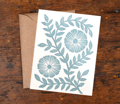 Block Printed Pale Blue Flowers
