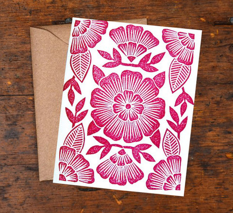 Block Printed Maroon Flowers
