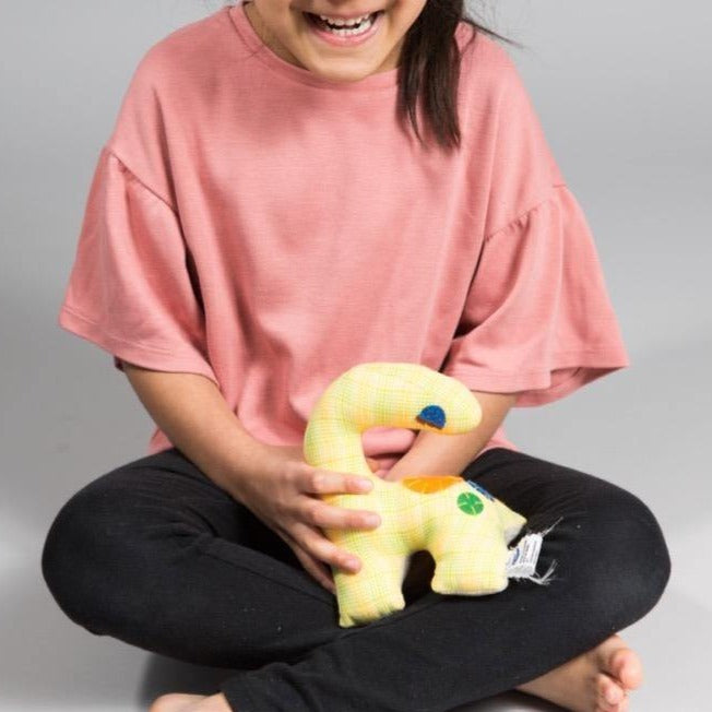 Small dinosaur (Yellow Plaid) - Child's Cup Full