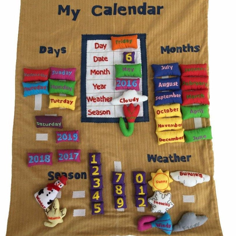 English interactive calendar (light brown) - Child's Cup Full
