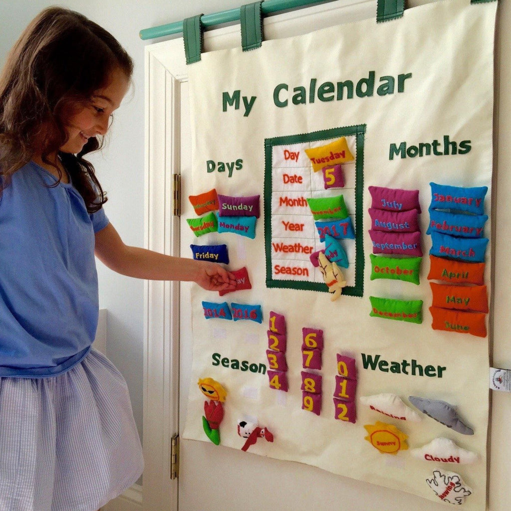 English interactive calendar (tan) - Child's Cup Full