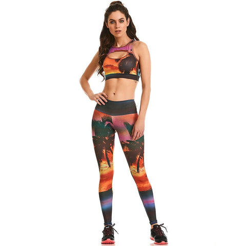 HOT! - Sunset Oasis Leggings - Energy Flow Activewear