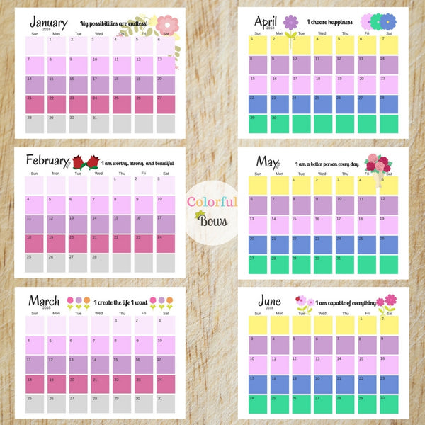 Printable Calendar to Plan your year (2018) at ColorfulBows