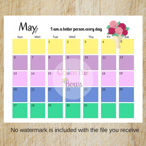 2018 Printable Calendar, Colorful and Motivational