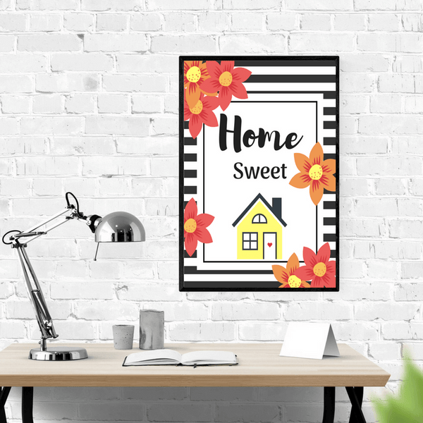 Home Sweet Home Wall Art Printables (Pink House) at ColorfulBows