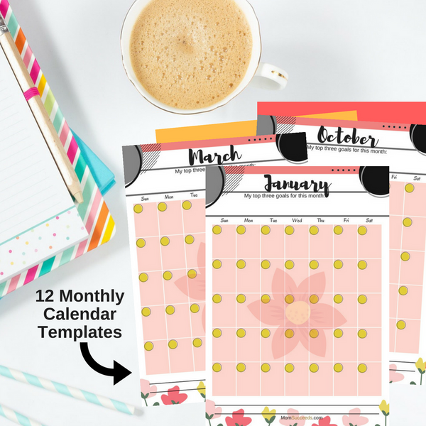 Vertical Monthly Calendars (12 templates) at ColorfulBows