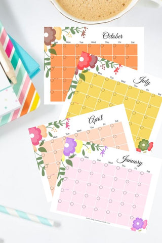 12 Printable Monthly Calendars at ColorfulBows
