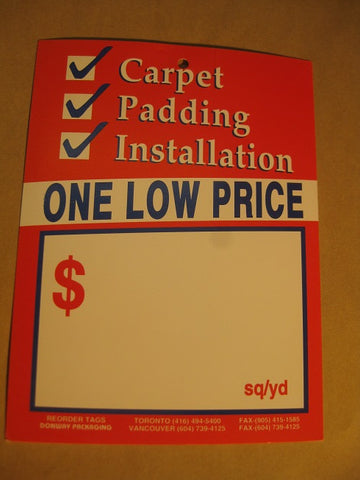 Carpet + Padding + Installation Tag - Red (500 per box)