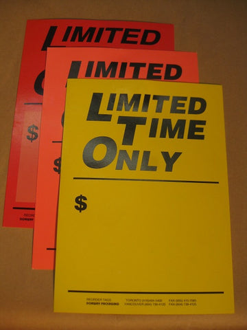 Limited Time Only Tag - Red (500 per box)