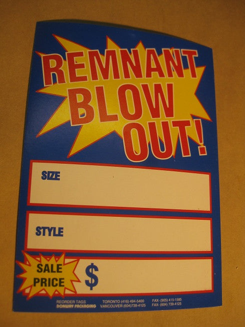 Remnant Blowout Tag - Blue (500 per box)