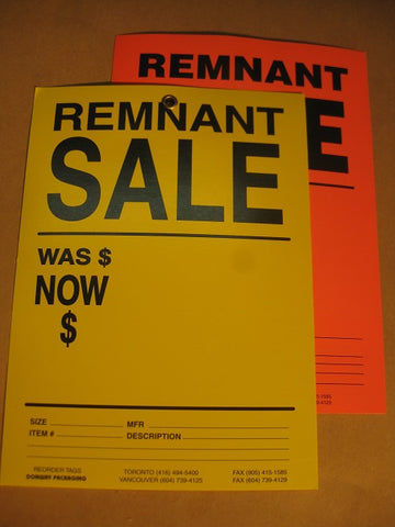 Remnant Sale Tag - Yellow (500 per box)