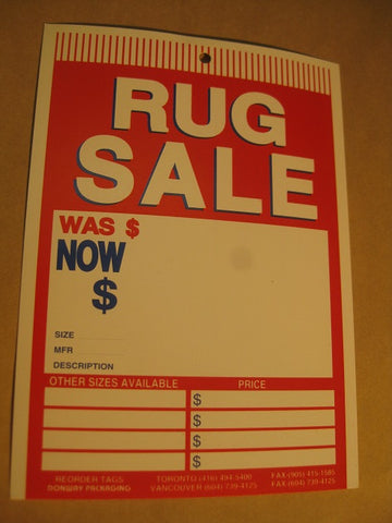 Rug Sale Tag - Red (500 per box)