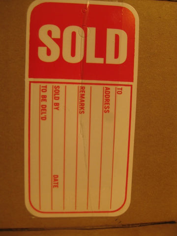 Slitted Sold Tag - Red (1,000 per box)