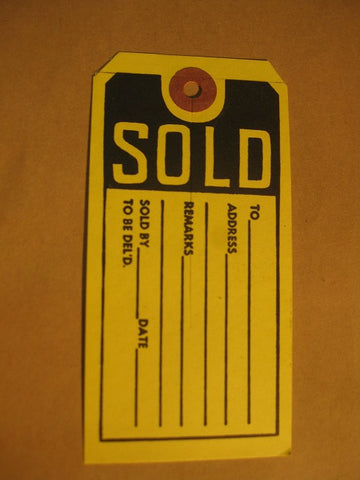 Eyeletted Sold Tag - Yellow (1,000 per box)