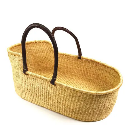Ghana Moses Basket Brown Leather