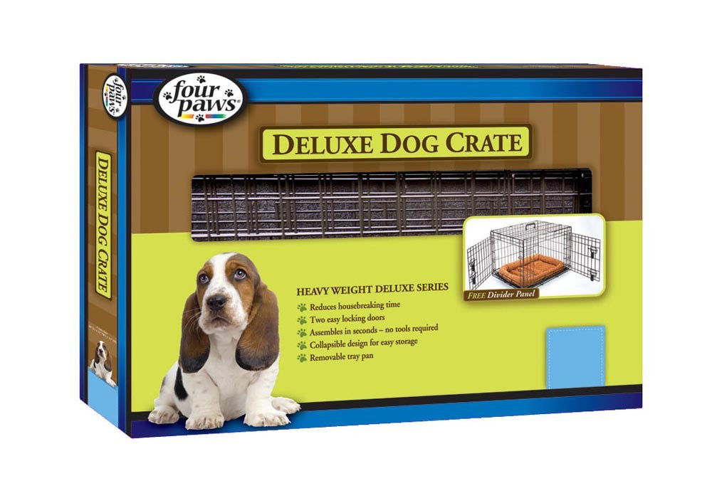 Four Paws Double Door Deluxe Crate- Divider Panel Included 42x28x30