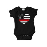 Back The Red Heart Flag Onesie NB - 24 Mos.