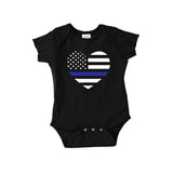 Back The Blue Heart Flag Onesie NB - 24 Mos.