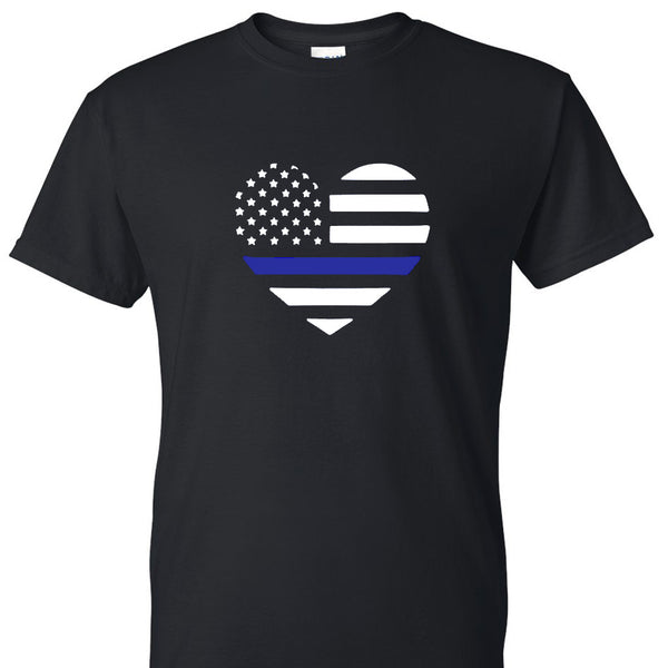 Back the Blue Heart Flag Unisex T-shirt. S-XXL.